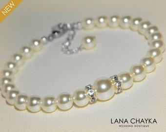 Pearl Bridal Bracelet Swarovski Cream Ivory Pearl Silver Wedding Bracelet Delicate Pearl Bracelet Ivory Pearl Bridal Bridesmaid Jewelry