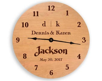 Wedding clock, family name clock, anniversary clock, personalized clock. wedding gift, anniversary gift, wood wall clock. CL6009