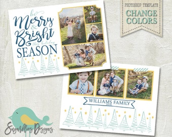 Holiday Card PHOTOSHOP TEMPLATE - Family Christmas Card 157