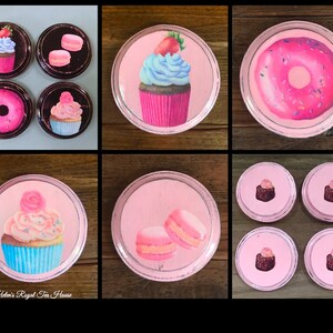 4 per set, Wood Coasters with Desserts, French Pastry, bakery and sweet theme