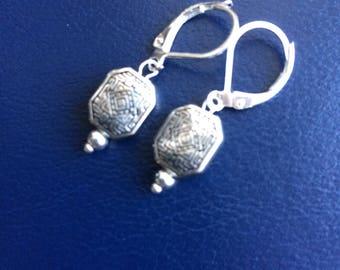 Art Deco Silver Plated Short Drop Earrings
