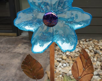 Blue Glass Plate flowers with copper stem and leaves