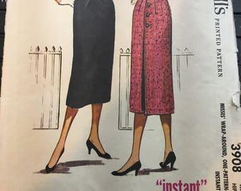 Vintage 50s McCall's 3908 Skirt Pattern-25 Waist, 34 Hip