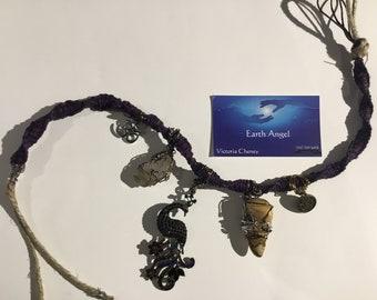 Herkimer Diamond, Leopard Jasper, Wire Wrap, Hemp, Healing Inspirational Necklace/Jewelry gift