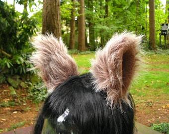 Furry Ear Cosplay Hair Clips - Faux Fur Animal Ear Costume by Ningen Headwear