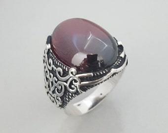 Handmade silver mens ring with Garnet Stone