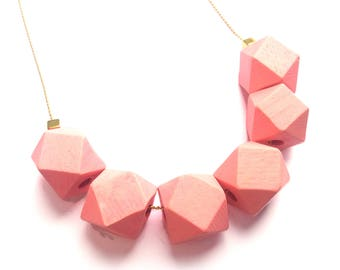 Pink Beads Necklace, Geometric Necklace, Everyday Jewelry, Gold Plated Necklace, Wood Bead Necklace, Bead Chain Necklace, Pink Wood Necklace