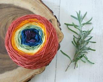 Merino Sock Yarn 100g Striping Cake SLIGHT IMPERFECTION - 4ply Pride Flag Rainbow Colours - hand dyed