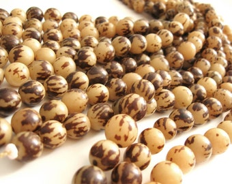 10 Tiger Brown Buri Beads 12mm