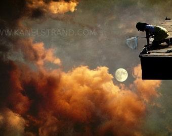 Surreal art print, moon art, girls room decor, Catch the Moon, dreamscapes, fantasy photo print 6x10