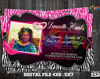 50th Birthday Invitation | Zebra Print Party Invitation | Custom Party Invitation | Glamorous  Party | Printable Invitation | Custom Invite