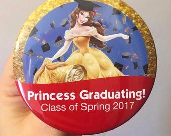 Disney Graduation Button, Graduation Pin, Princess Graduation button