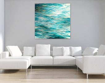 """Extra Large Abstract Seascape, Original Painting, 48"""" square Canvas Wall Art, Coastal Decor, turquoise teal white gold, Free Shipping"""