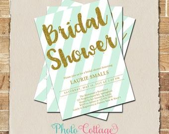 Bridal Shower Invitation, Glitter Gold Invitation, Glitter Invitations, Bridal Shower Invites, Mint & Gold Invitation, BS230