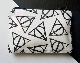 Hand Printed Deathly Hallows Coin Purse