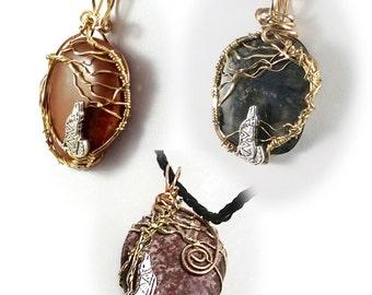 Custom Howling Wolf Pendant, Custom Pendant, Gift for Dad, Gift for Husband, Bronze Pendant, Howling Dog Pendant,  Unisex Pendant