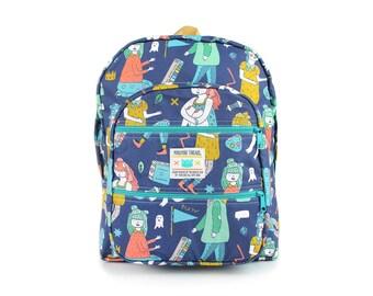 Dreamer Print Big Pocket Backpack