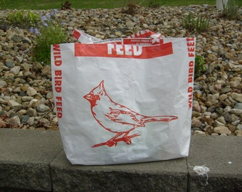 Recycled Feed Sack Red Cardinal Bird Seed Market Bag Purse or Tote