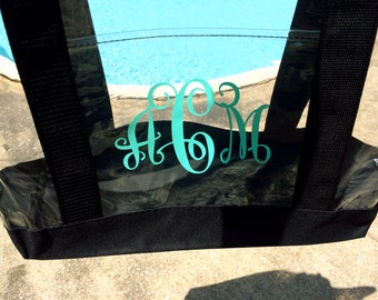 Monogrammed Clear Tote Bag - Large Clear Zipper Tote - Personalized Tote Bag - Bridesmaid Gifts - Monogrammed Pool Bag - Gifts for Women