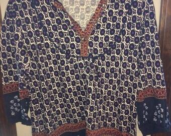 Vintage India Cotton Peasant Boho Festival Floral Hippie Blouse Top