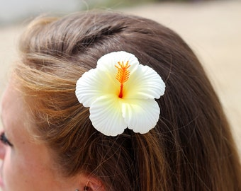 Hibiscus Hair Clip, White and Yellow, Tropical Flower, Beach Wedding, Hair Accessory