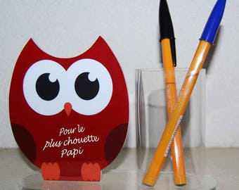 """Pencil holder OWL red message """"for great Grandpa"""""""