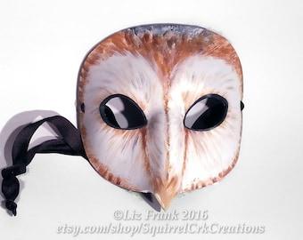 Owl Mask, Barn Owl, Leather mask, labyrinth costume,  Bird mask, Animal Costume, animal mask, Mardi Gras, LARP Costume