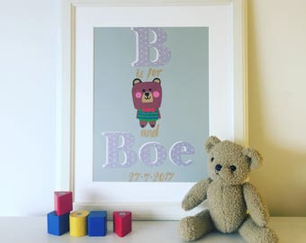 New baby gift, Original Nursery Collage, Personalised name collage, Original artwork, Bespoke collage, Unique gift, Christening gift