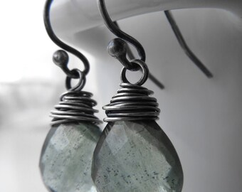 Small Moss Aquamarine Teardrop Gemstone Earrings, Wire-Wrapped in Oxidized Sterling Silver, Green-Blue Teardrop Earrings, Gemstone Jewelry