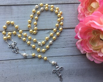 Yellow Rosary, Catholic Rosary, First Communion, Religious, Gift for Her, Jewelry, Angels, Blessed Mother