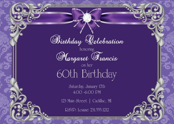 60th Birthday Invitation 60th Birthday Party Invitation