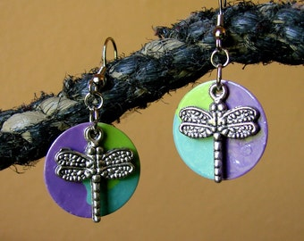 Antique Silver Dragonfly Earrings - Dangly Dragonflies