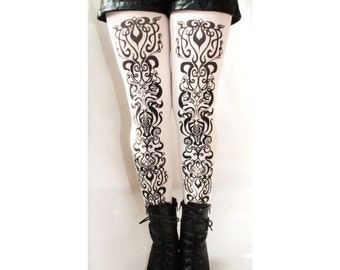 Art Nouveau Printed Tights Black on White All Sizes Street Style Fashion Legwear Accessories
