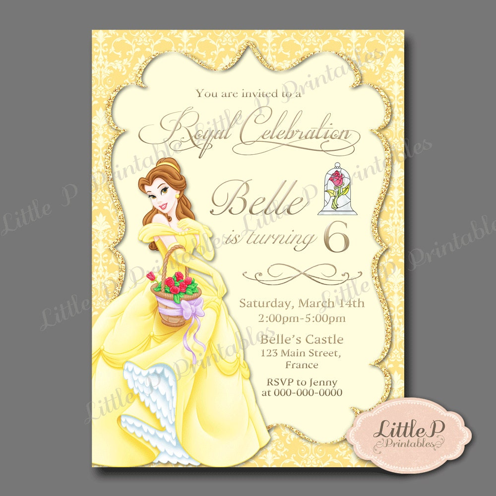 Belle Invitation. Belle Birthday Invitation. Belle Party