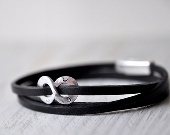 Personalized Infinity Leather Bracelet, aluminium or sterling silver, Initials or Numbers, Leather Anniversary gift for him or unisex