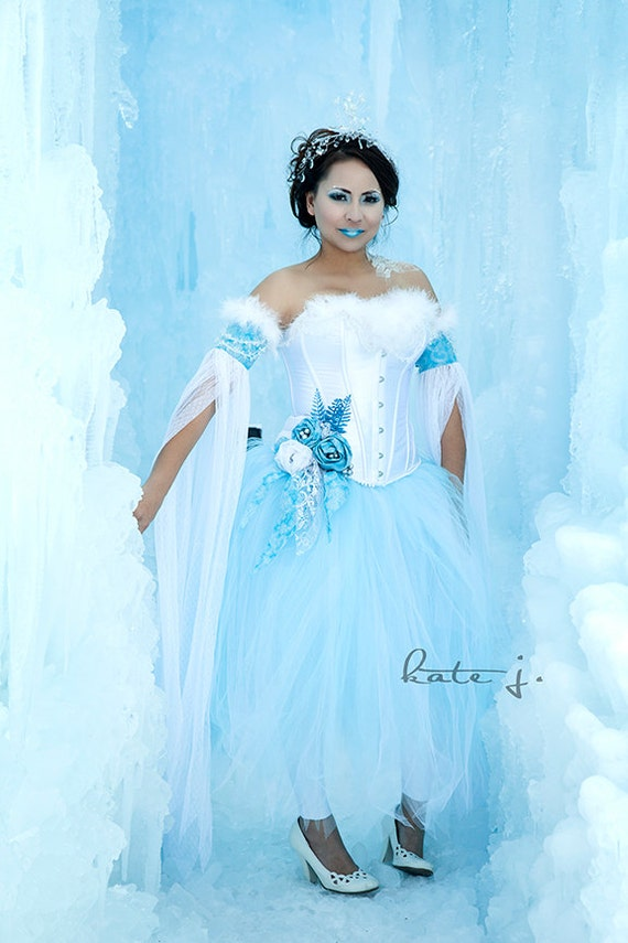 snow princess ice queen or winter fairy costume with white. Black Bedroom Furniture Sets. Home Design Ideas