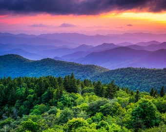 Sunset from Cowee Mountains Overlook, on the Blue Ridge Parkway in North Carolina. Photo Print, Metal, Canvas, Framed.