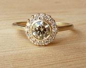 Bezel Set Diamond Halo Ring