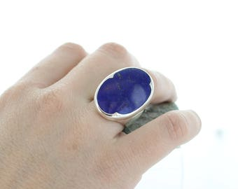 Lapis Lazuli Silver Ring. Size 7. Natural stone. Gemstone ring. Big Cabochon Lapis Lazuli ring. Lapis Lazuli AAA. apsarasV Ring.