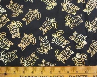 fabric BTY - TURTLE BATIK - black background - all cotton, 44 inches wide