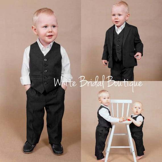 Set of 4 wedding suit Ring bearer outfit Baby boy outfit