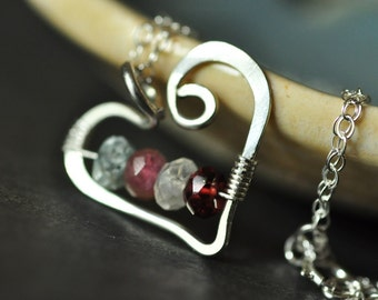 mothers family birthstone necklace Open Heart (small) sterling silver - 4 stones / friendship necklace / sisters necklace - customized