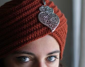 Turban Hat, Jewel, crochet