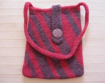 Purple & Crimson Felted Bag, Felted Laptop Bag, Knit Felted Shoulder Bag, Purple Wool Handbag, Falcon, Striped Wool Purse, Casual Handbag