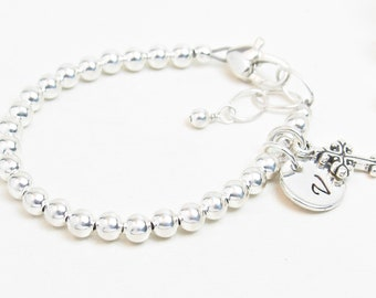 Silver Newborn Infant Baby Little Girl Bracelet - Personalized Baby Bracelet - Girl Baptism Christening Confirmation Communion Gift - Disc