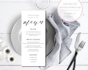 Wedding Menu Template. Wedding Menu Editable. Instant Download Wedding Menu. Wedding Menu Printable. Wedding Dinner Menu. DIY Menu. (SH)