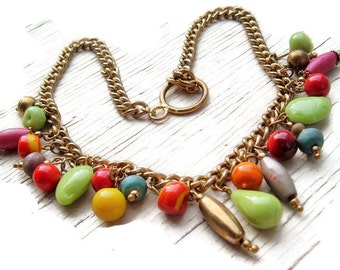 Vintage Glass Fruit, Dyed bone and Brass ,colorful statement ,boho necklace ,gifts for her ,unique vintage, Bohemian chic