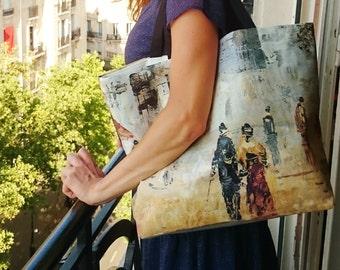 """Tote bag Paris, Ladies handbags, trendy canvas tote bag, printed tote bag """"Walkers in Montmartre"""", beach bag, hand made in France"""