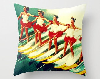 Mid Century Pillow Covers 18x18 Decorative Pillows For Couch, Beach Hostess Gifts Retro Throw Pillows Beach Pillows, Coastal Decor Mom Gifts