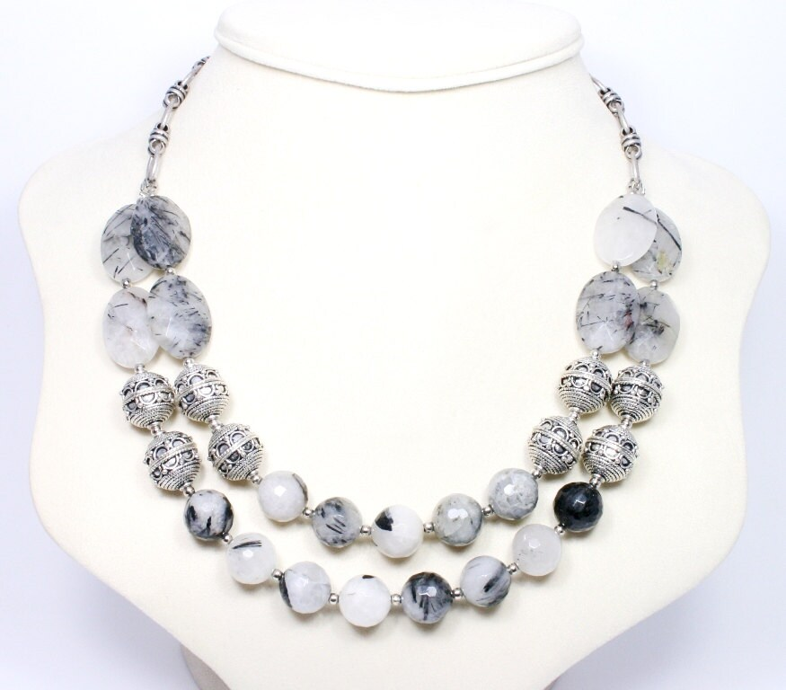 Tourmalinated Quartz Necklace Chunky Gemstone Designer